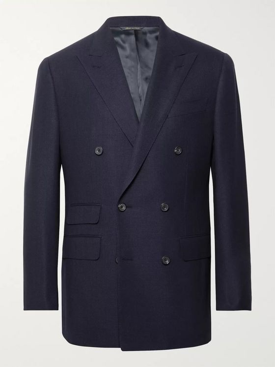 Thom Sweeney Navy Slim-Fit Double-Breasted Wool-Hopsack Blazer