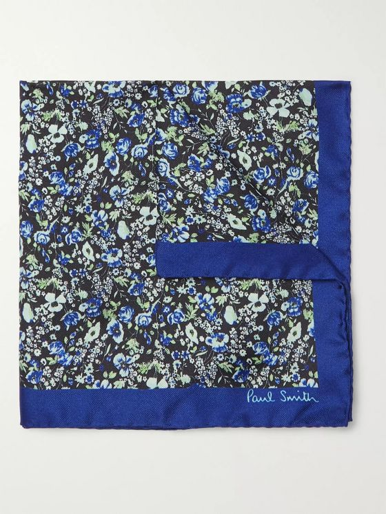 Paul Smith Floral-Print Silk-Twill Pocket Square