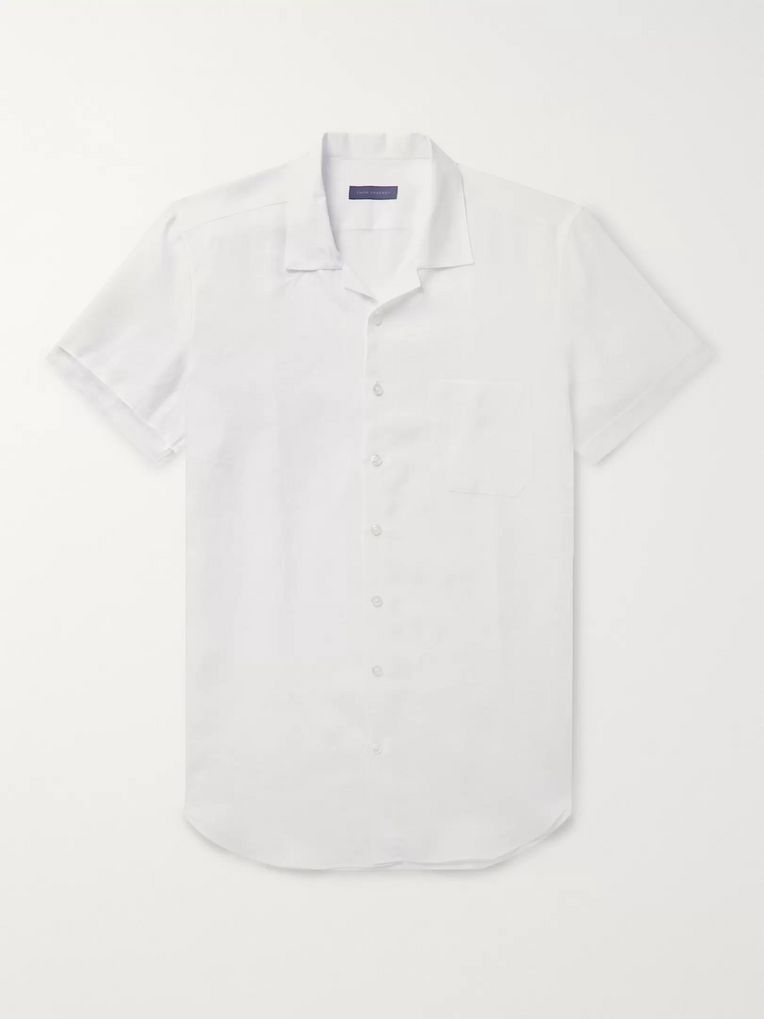 Thom Sweeney Slim-Fit Camp-Collar Linen Shirt
