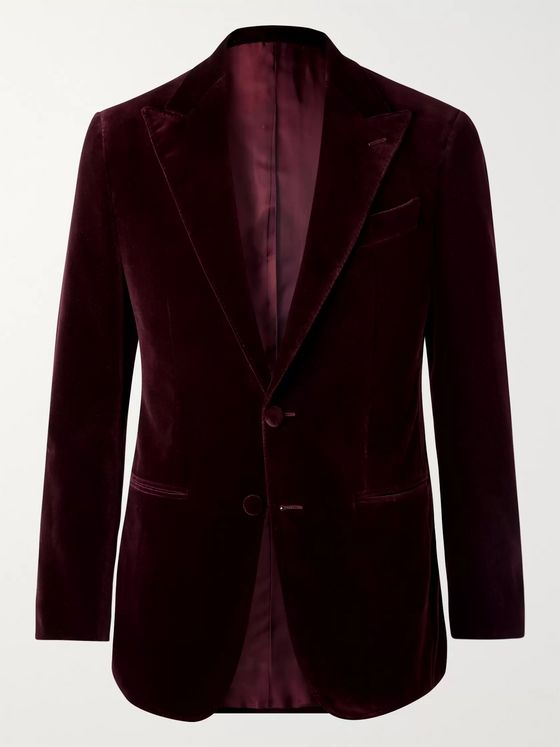 Thom Sweeney Burgundy Slim-Fit Cotton-Velvet Tuxedo Jacket