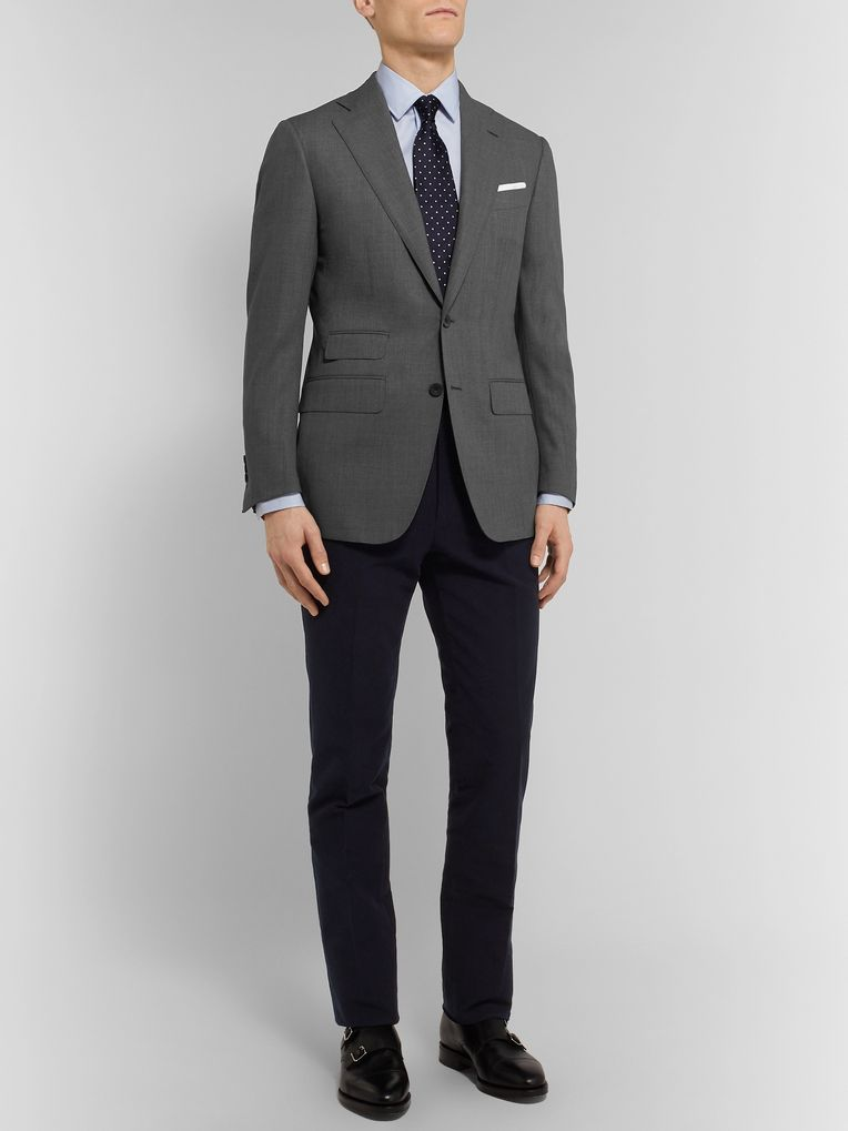 Thom Sweeney Dark-Grey Slim-Fit Wool Suit Jacket