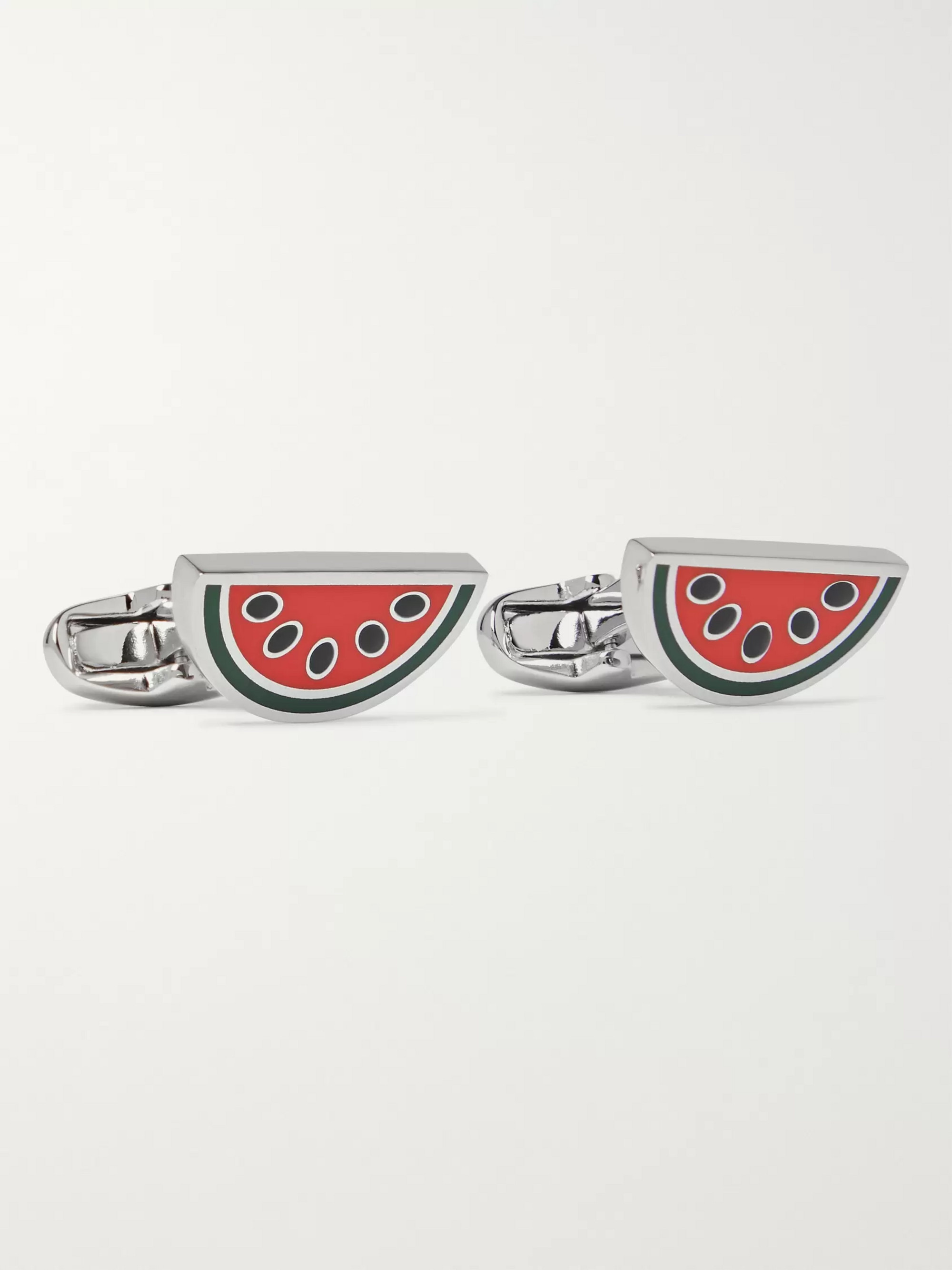 Paul Smith Watermelon Silver-Tone and Enamel Cufflinks