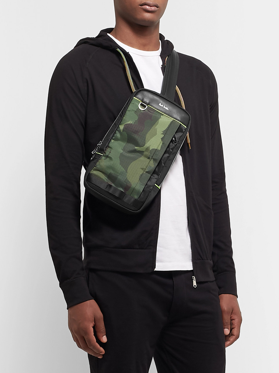 Paul Smith Leather-Trimmed Camouflage-Print Ripstop Backpack