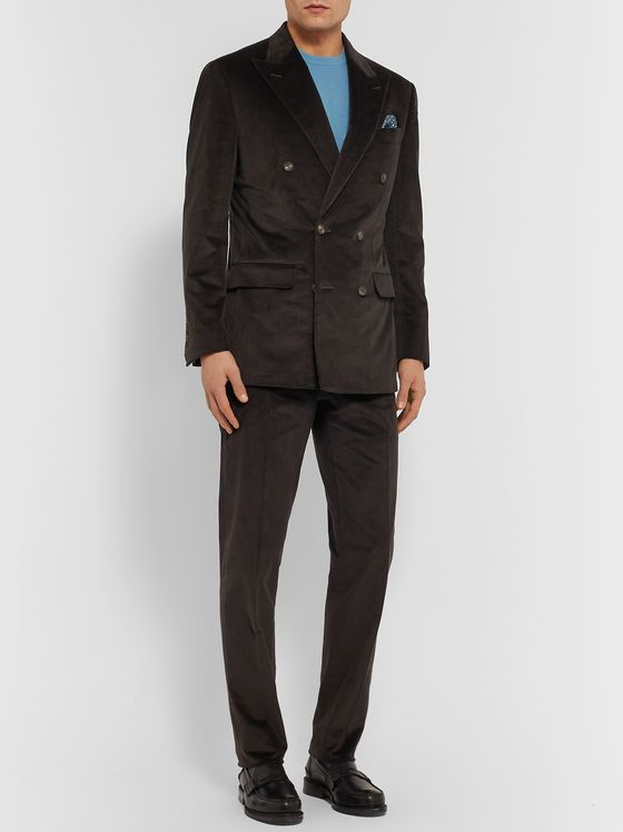 Thom Sweeney Dark-Brown Slim-Fit Double-Breasted Cotton-Blend Corduroy Suit Jacket