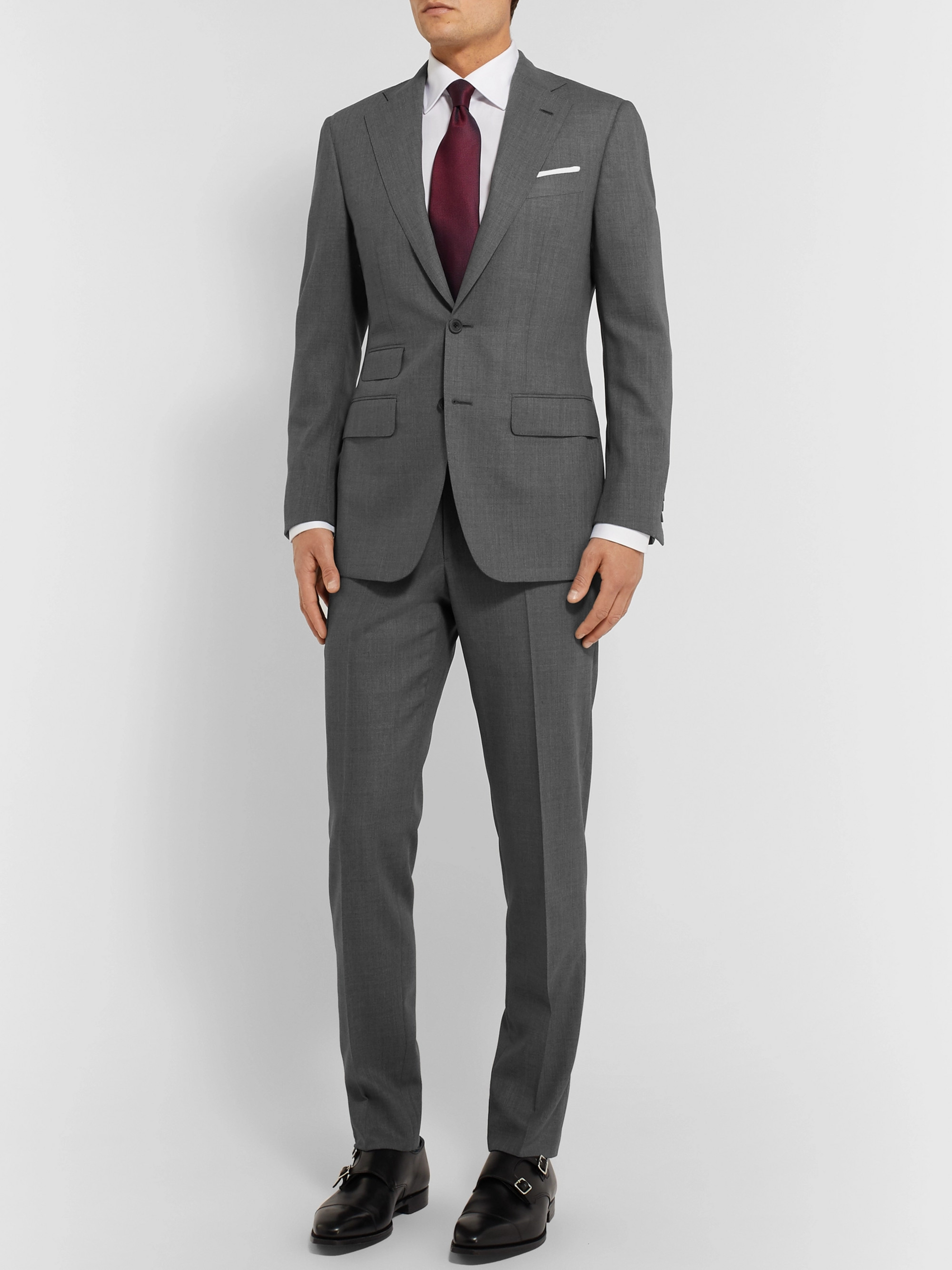 Thom Sweeney Dark-Grey Slim-Fit Wool Suit Trousers