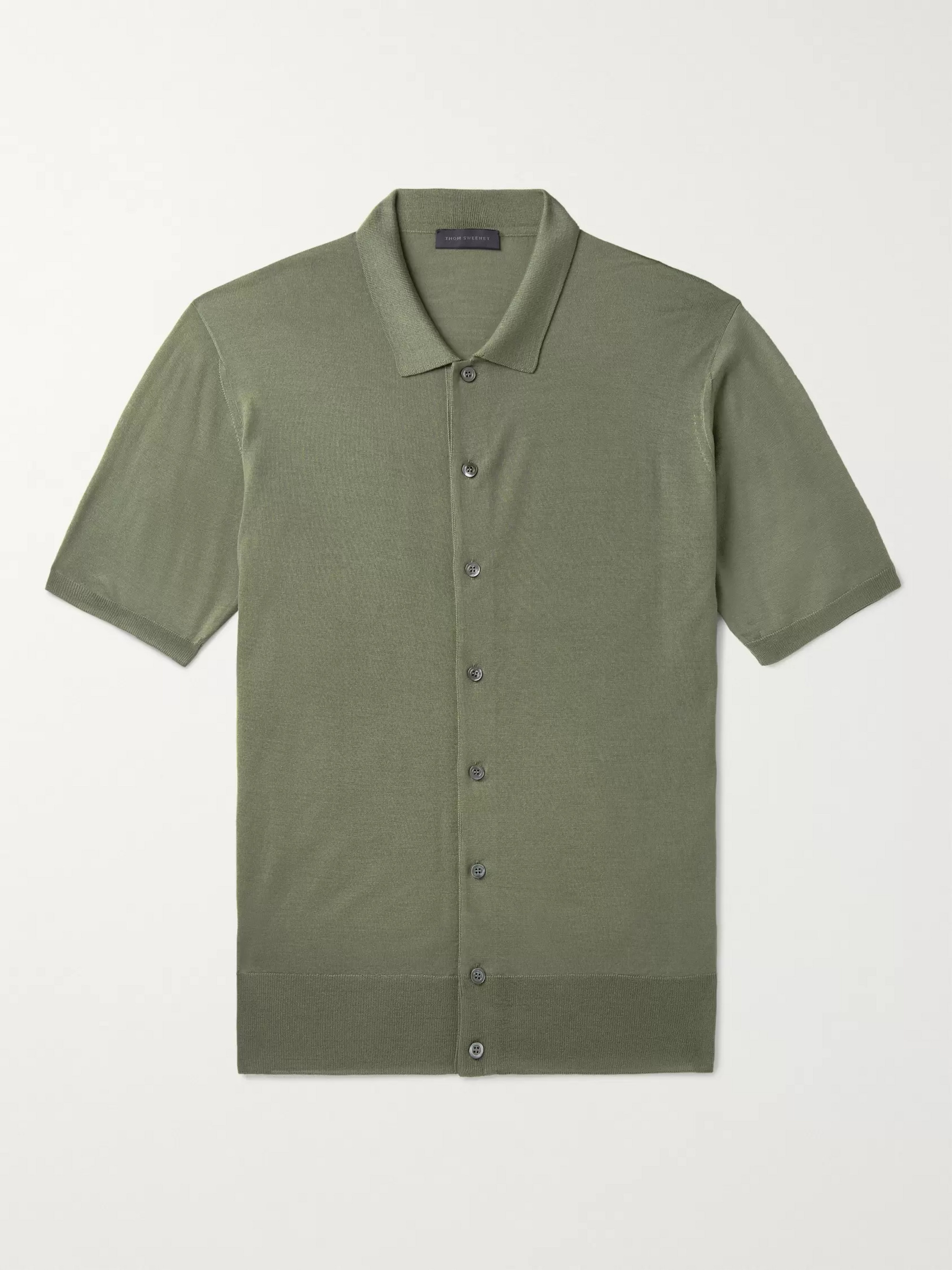 Thom Sweeney Slim-Fit Merino Wool Polo Shirt