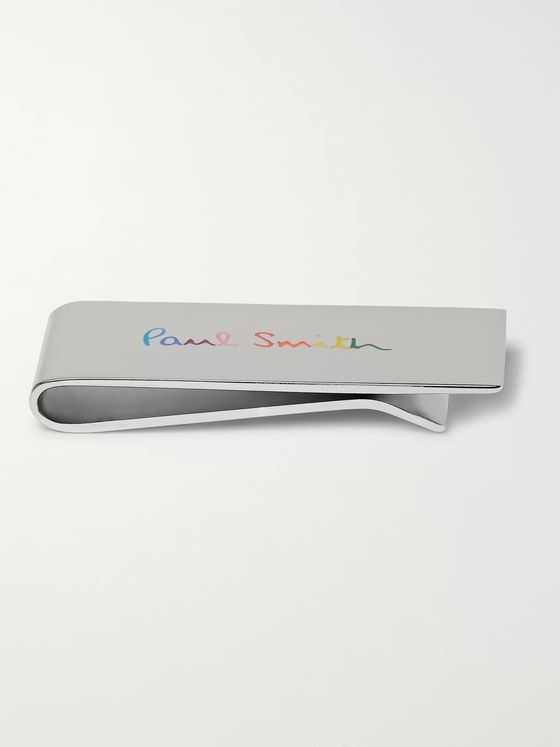 Paul Smith Logo-Engraved Silver-Tone and Enamel Money Clip