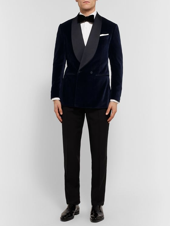 Thom Sweeney Navy Slim-Fit Double-Breasted Satin-Trimmed Cotton-Velvet Tuxedo Jacket