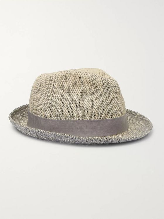 Paul Smith Grosgrain-Trimmed Mélange Straw Trilby Hat