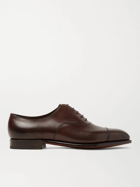 Edward Green Chelsea Cap-Toe Burnished-Leather Oxford Shoes