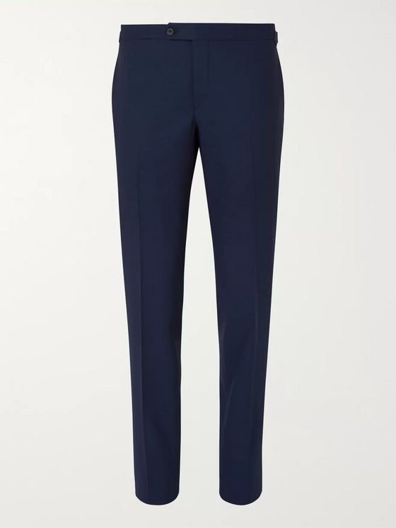 Thom Sweeney Navy Slim-Fit Wool Suit Trousers