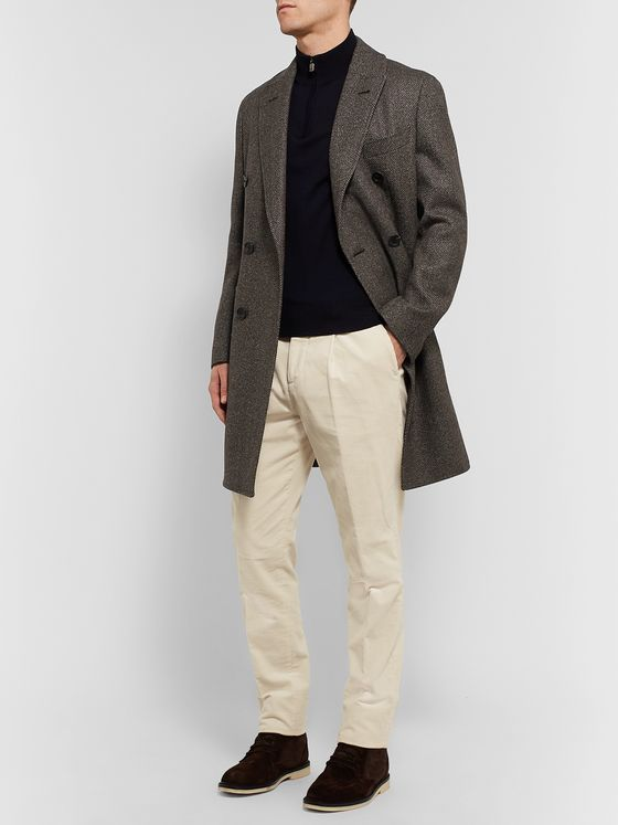 Thom Sweeney Double-Breasted Herringbone Wool Coat