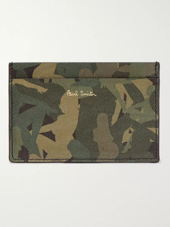 Paul Smith Camouflage-Print Textured-Leather Cardholder