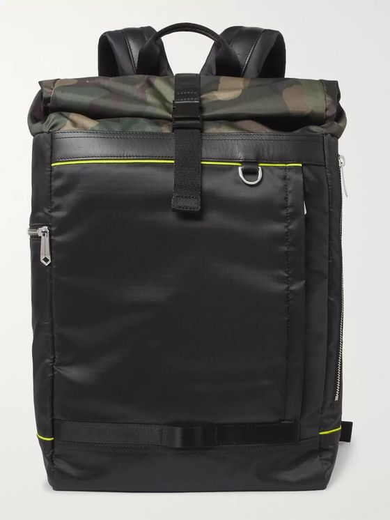 Paul Smith Leather-Trimmed Camouflage-Panelled Ripstop Backpack