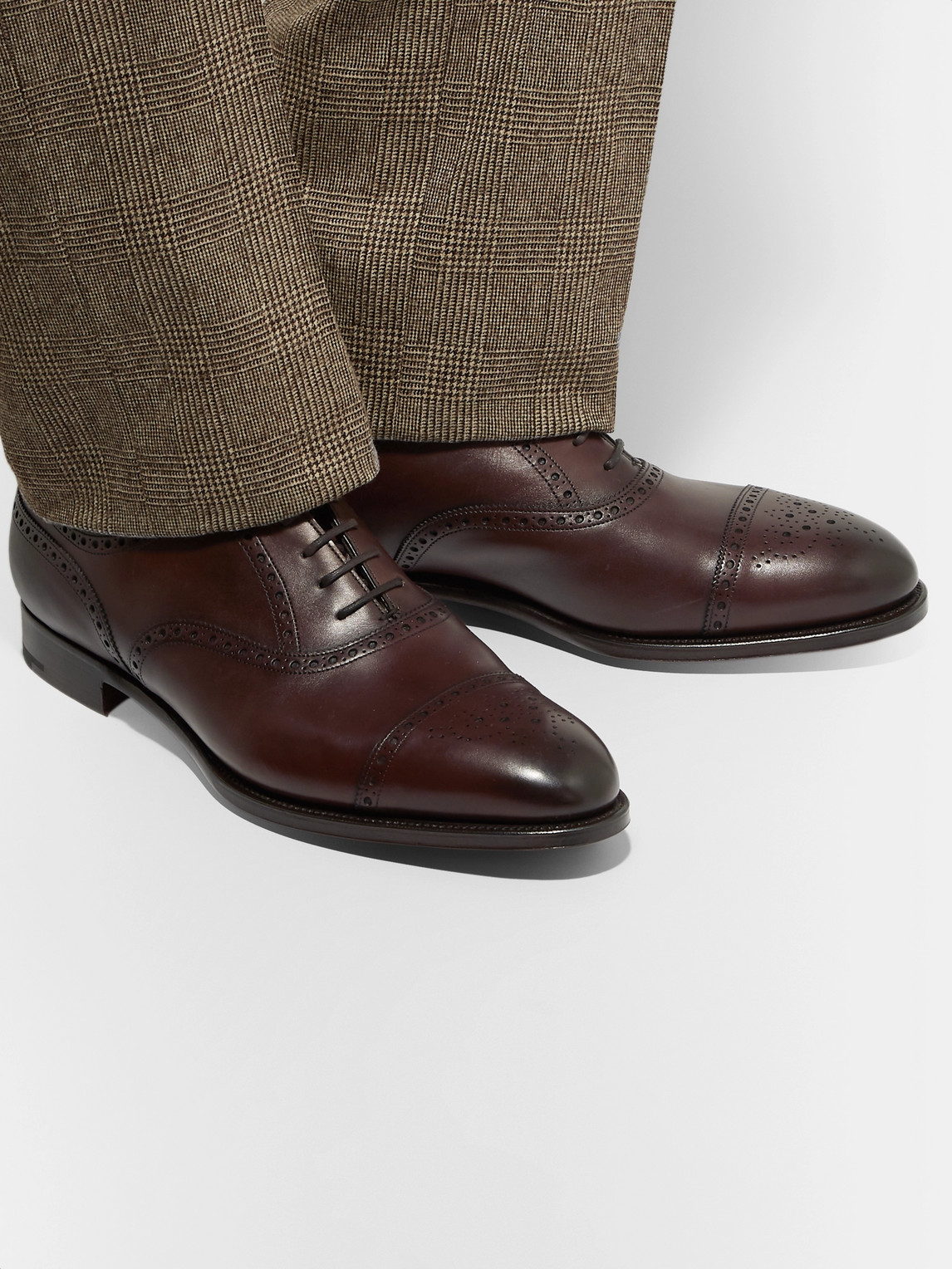 Edward Green Shoes CADOGAN BURNISHED-LEATHER BROGUES