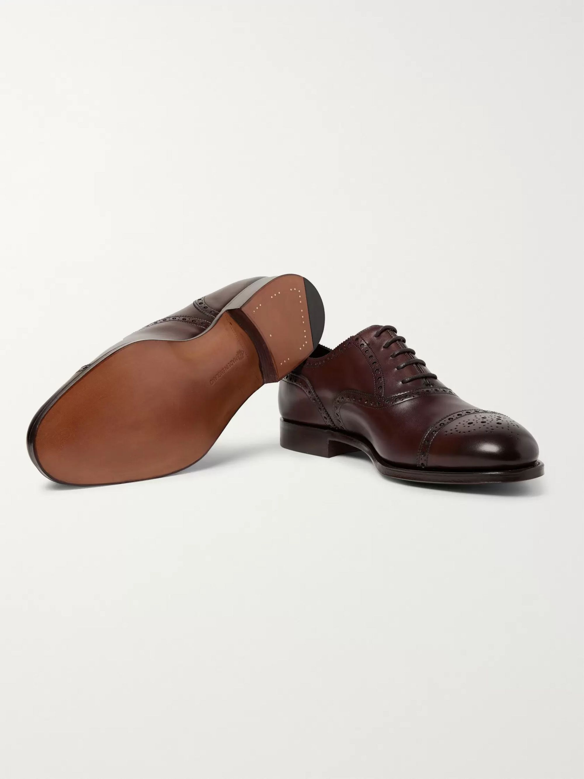 Edward Green Cadogan Burnished-Leather Brogues