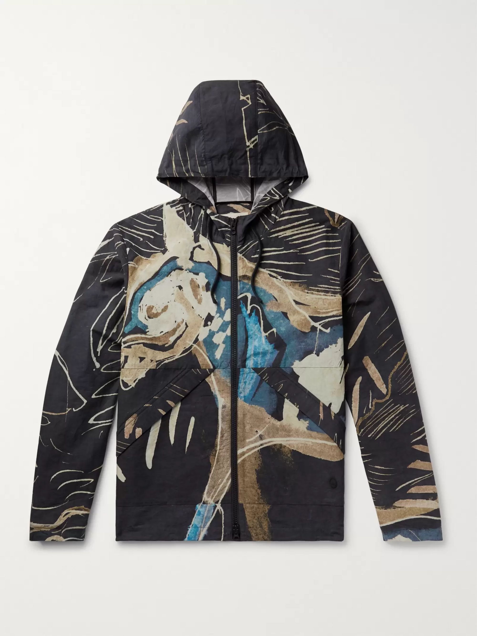 Folk + Goss Brothers Orpheus Printed Linen and Cotton-Blend Hooded Jacket