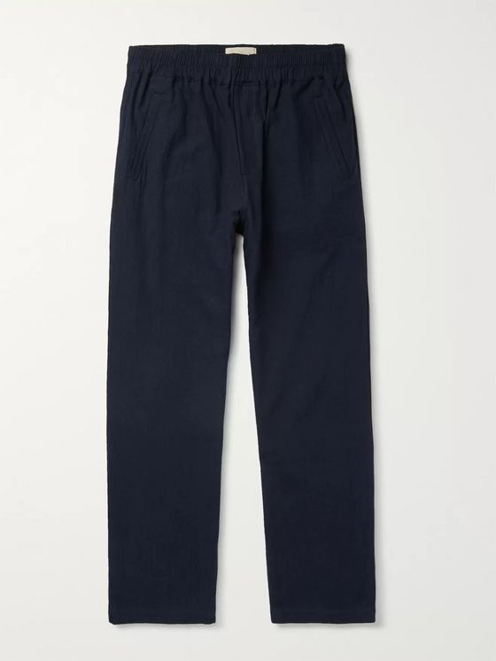 Folk Navy Tapered Linen and Cotton-Blend Trousers