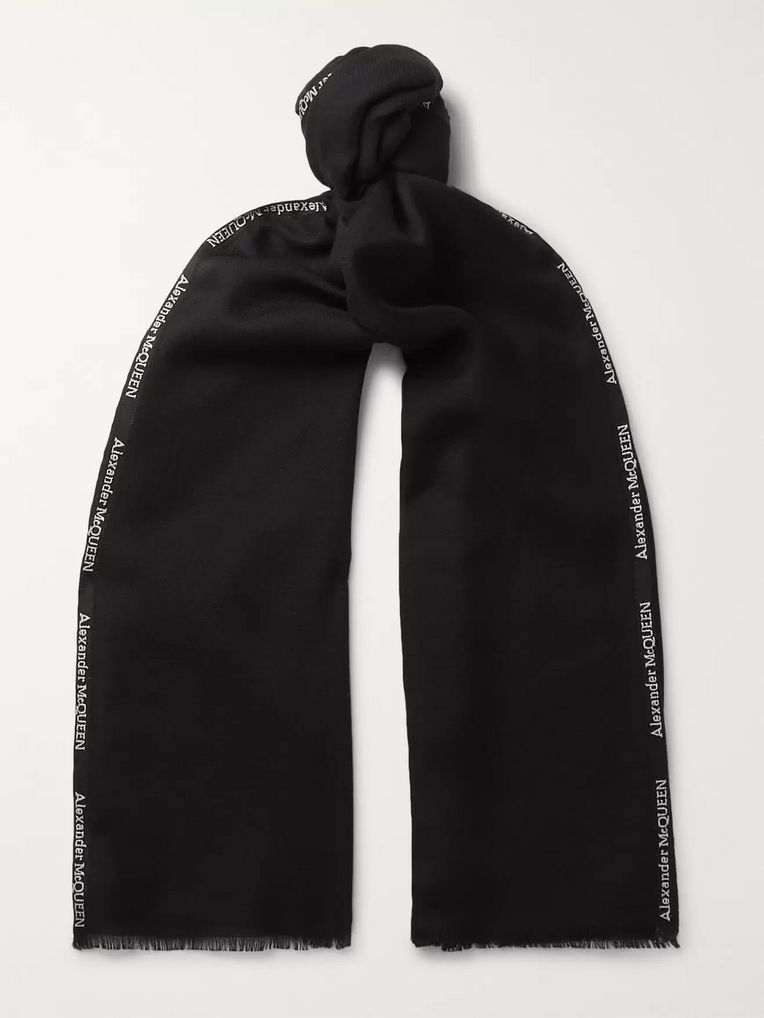 Alexander McQueen Logo-Trimmed Cashmere and Silk-Blend Scarf