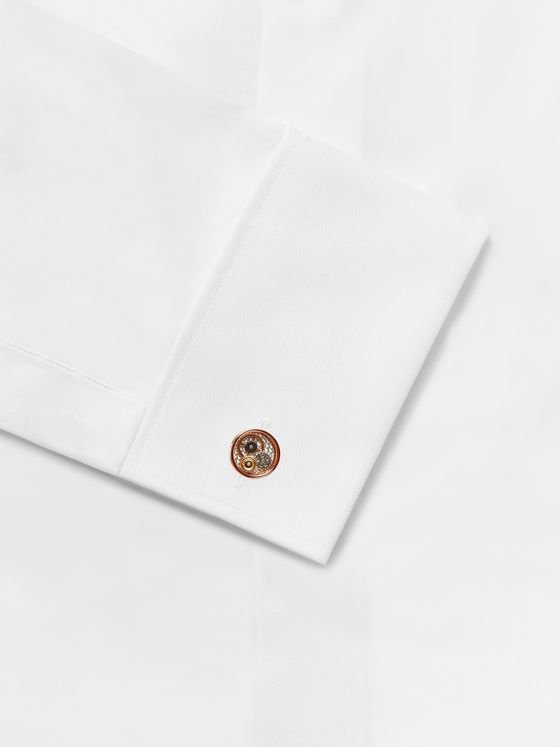 TATEOSSIAN Skeleton Gear Rose Gold-Plated, Carbon Fibre and Enamel Cufflinks