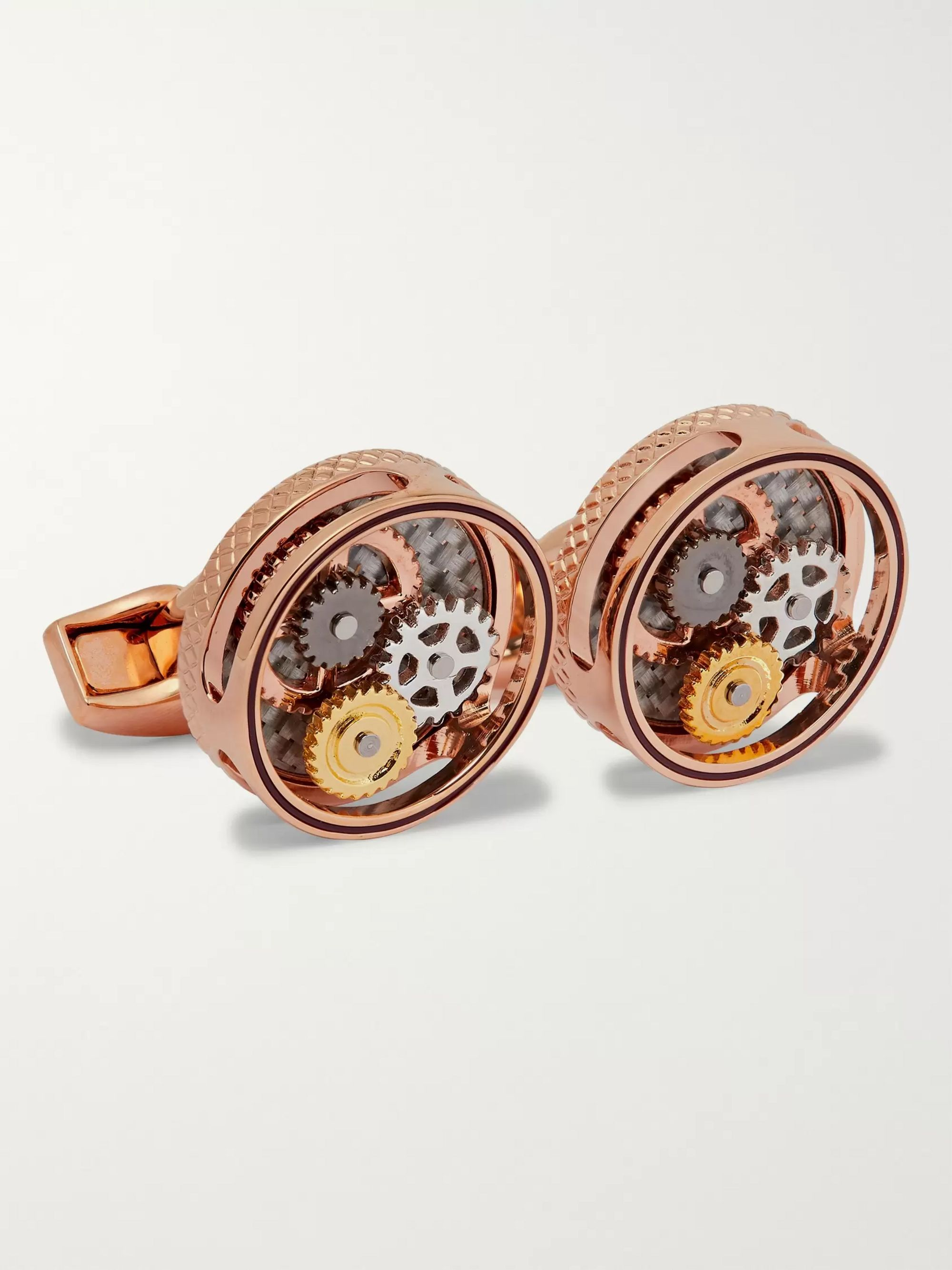 TATEOSSIAN Skeleton Gear Gold-Tone Cufflinks