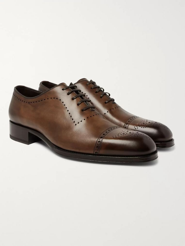 TOM FORD Edgar Burnished-Leather Oxford Brogues