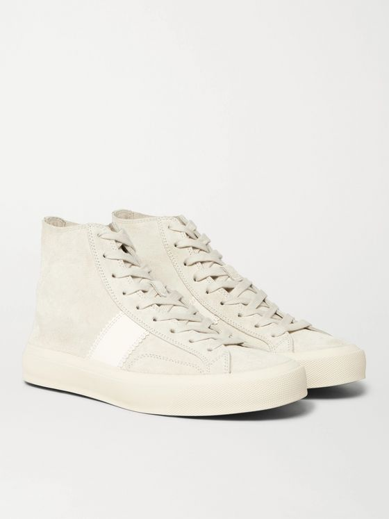 TOM FORD Cambridge Leather-Trimmed Suede High-Top Sneakers