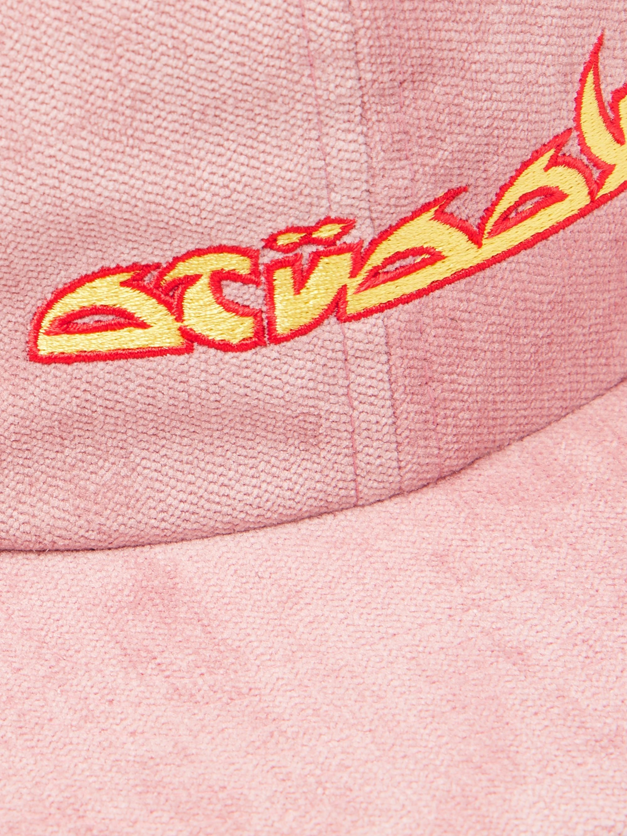 Stüssy Logo-Embroidered Velvet Baseball Cap