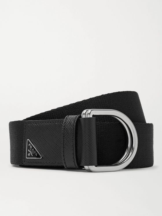 Prada 3.5cm Black Saffiano Leather-Trimmed Canvas Belt