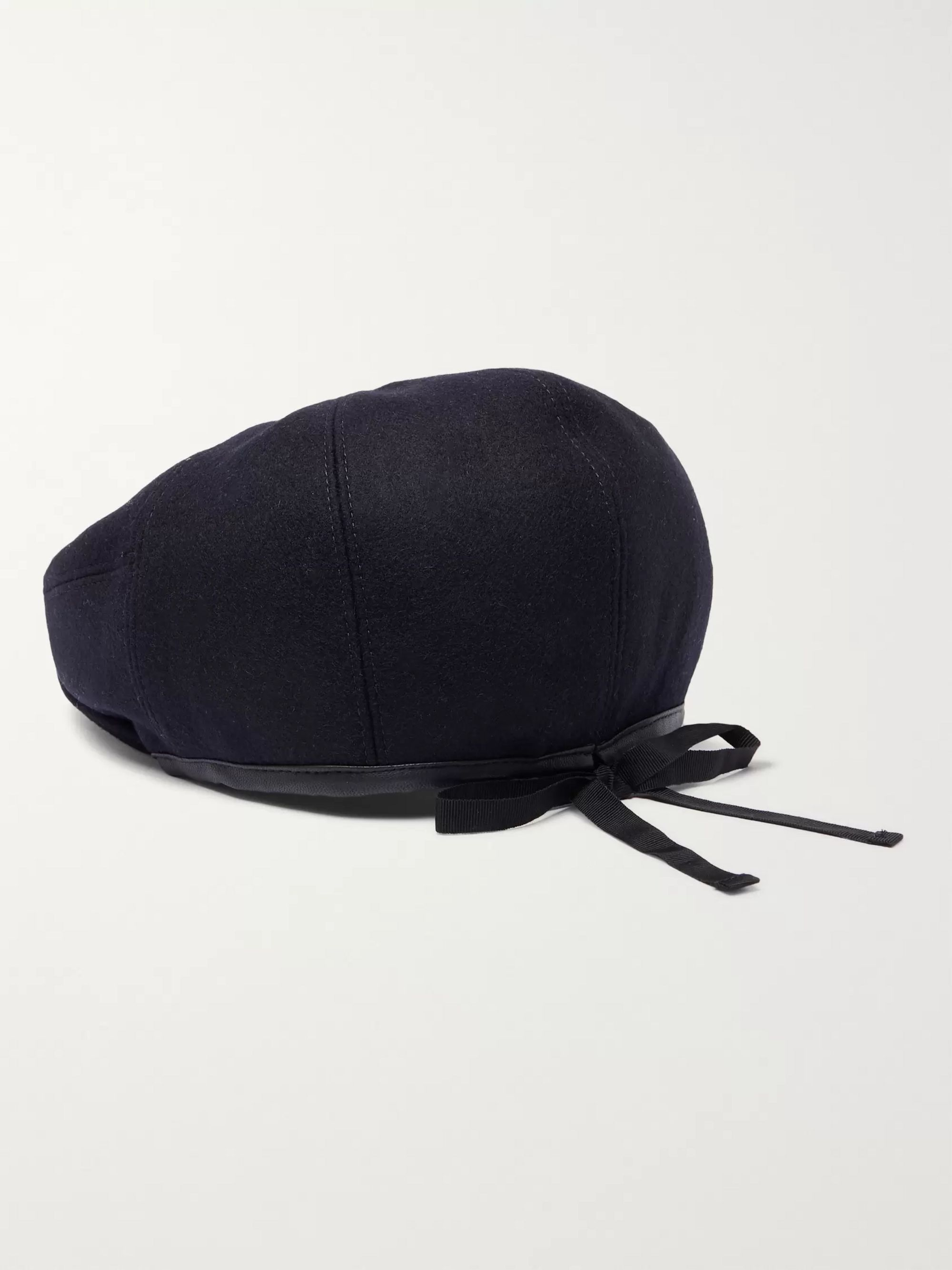 Alexander McQueen Leather-Trimmed Wool Flat Cap