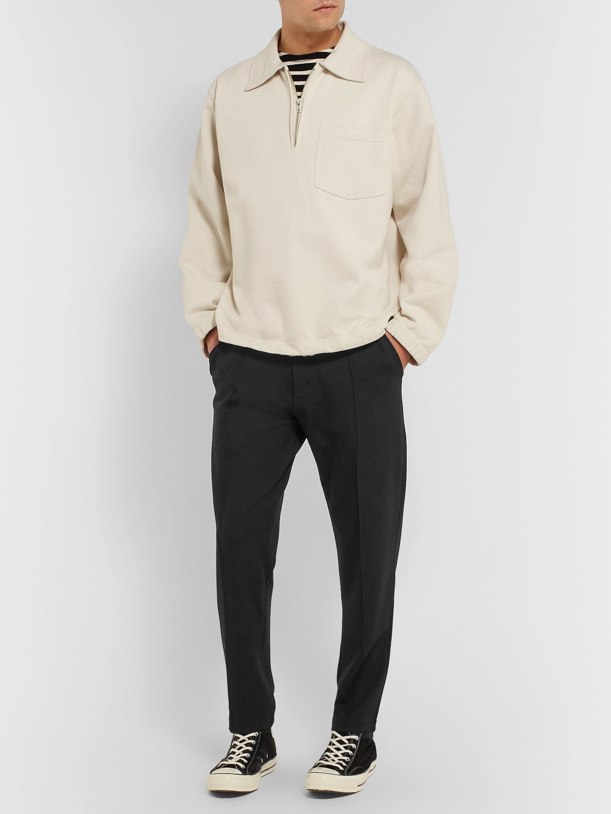 Folk Black Slim-Fit Stretch Tech-Jersey Sweatpants