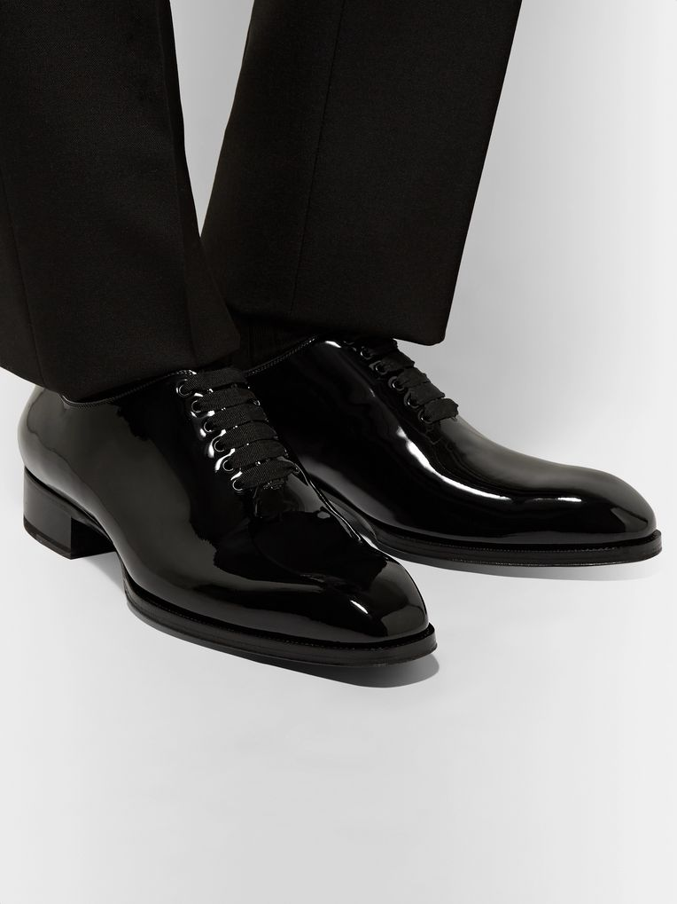 TOM FORD Elkan Whole-Cut Patent-Leather Oxford Shoes