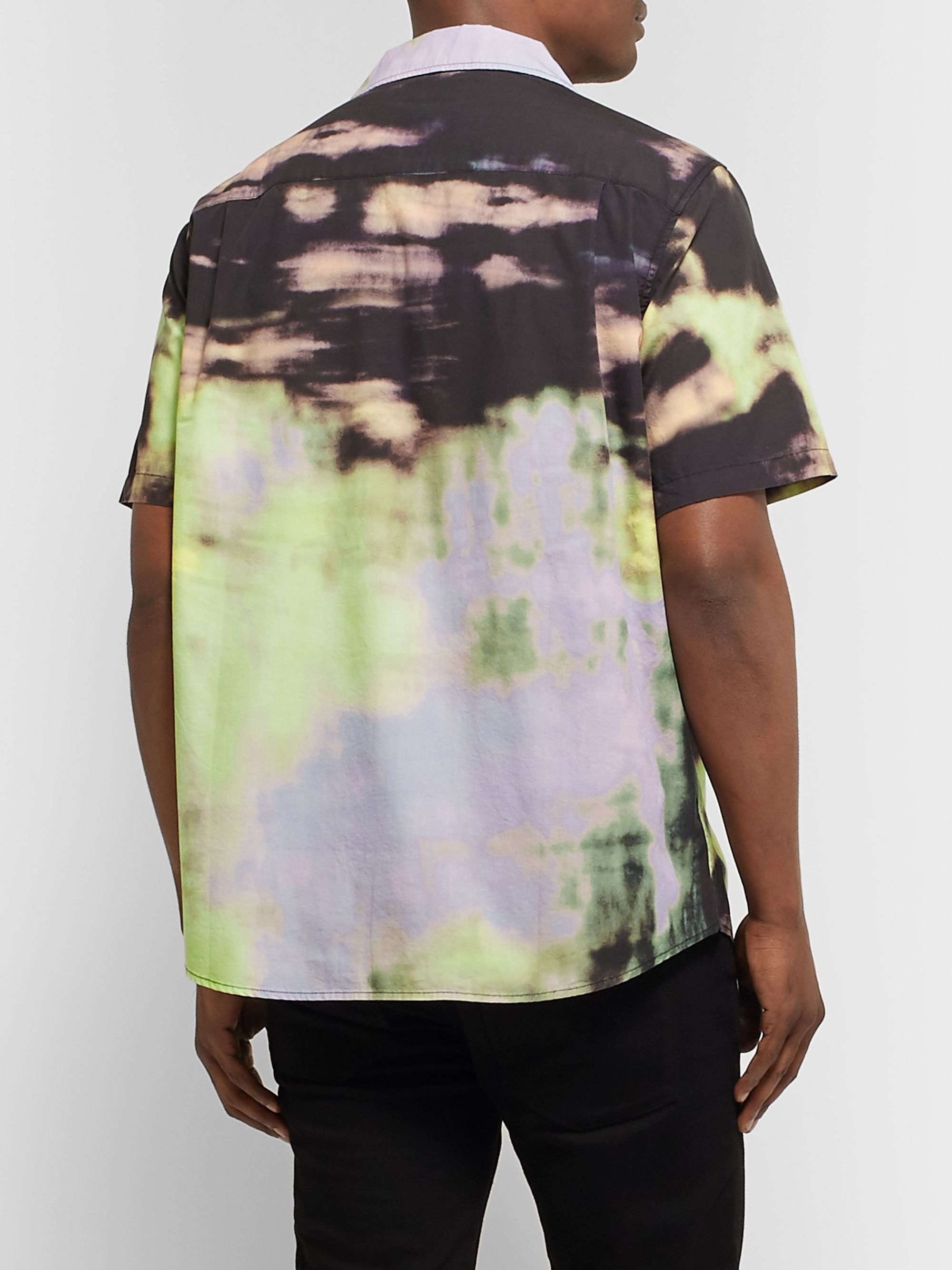 Stüssy Leary Camp-Collar Tie-Dyed Brushed-Cotton Shirt
