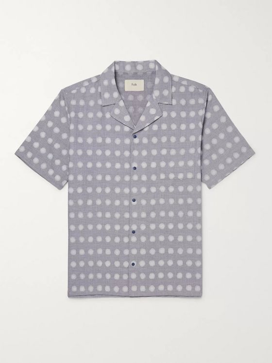 Folk Camp-Collar Polka-Dot Linen and Cotton-Blend Shirt