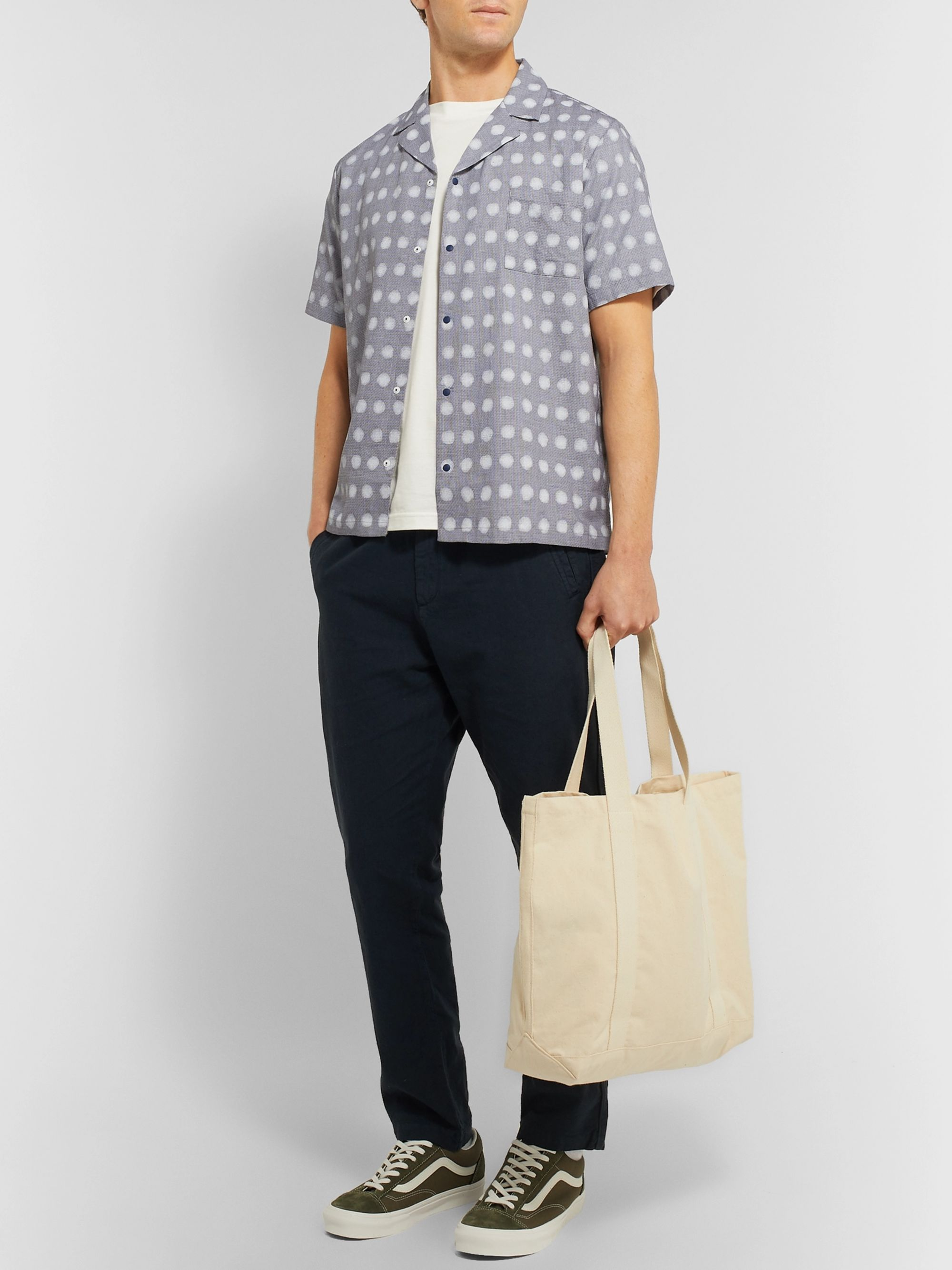 Folk + Alfie Kungu Camp-Collar Printed Cotton and Linen-Blend Shirt