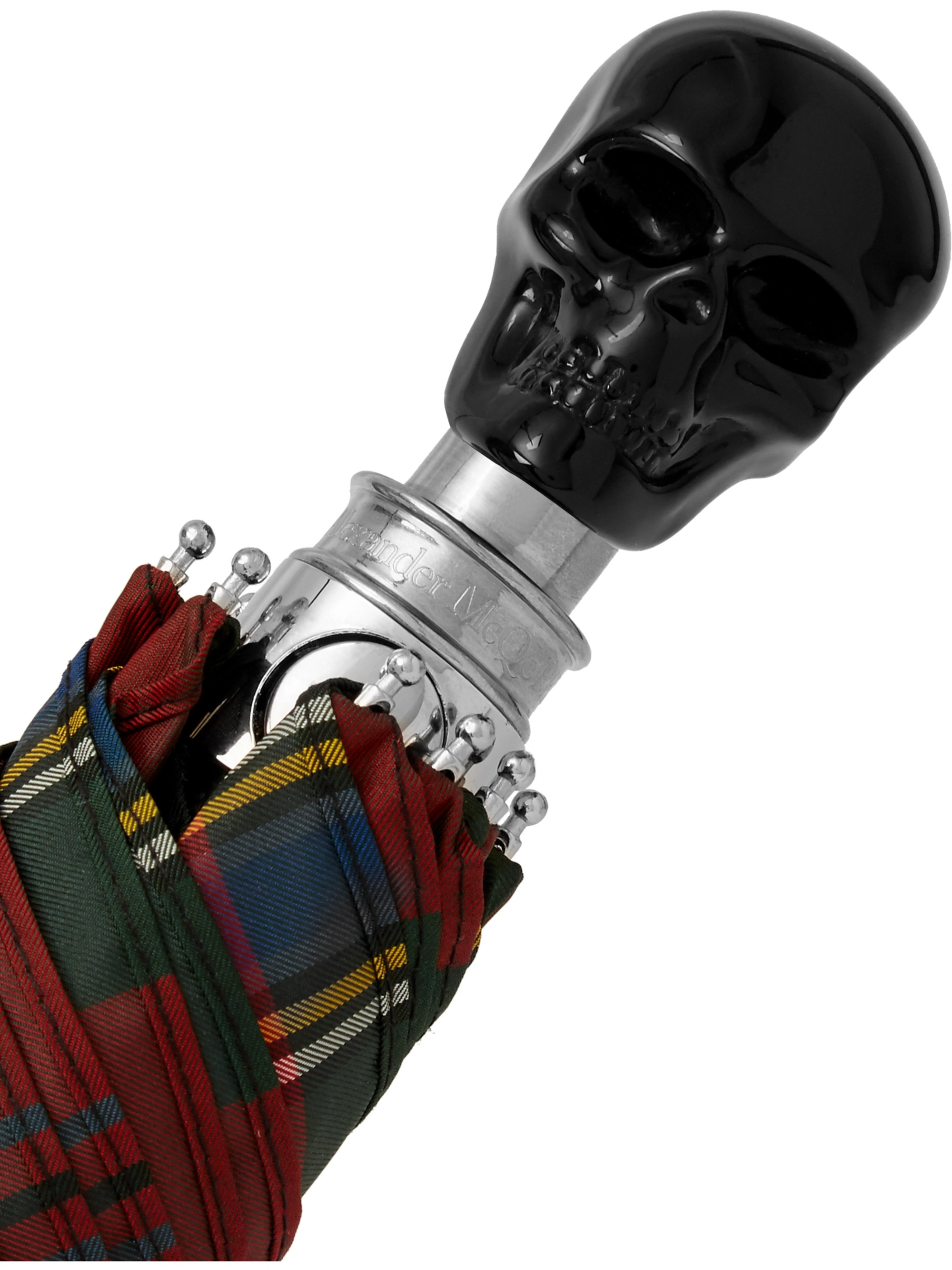 Alexander McQueen Checked Skull-Handle Umbrella