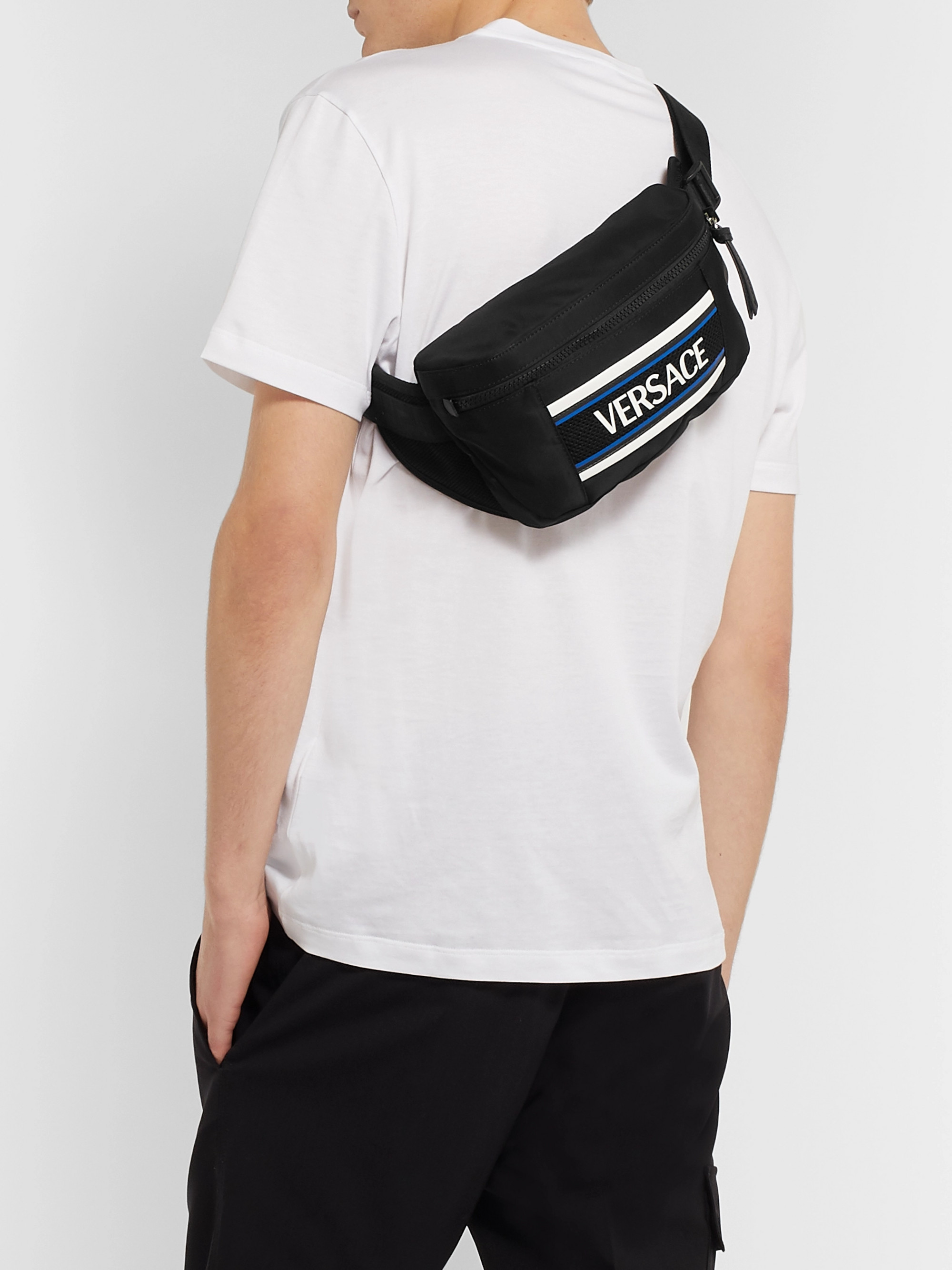 Versace Logo-Appliquéd Mesh-Trimmed Nylon Belt Bag