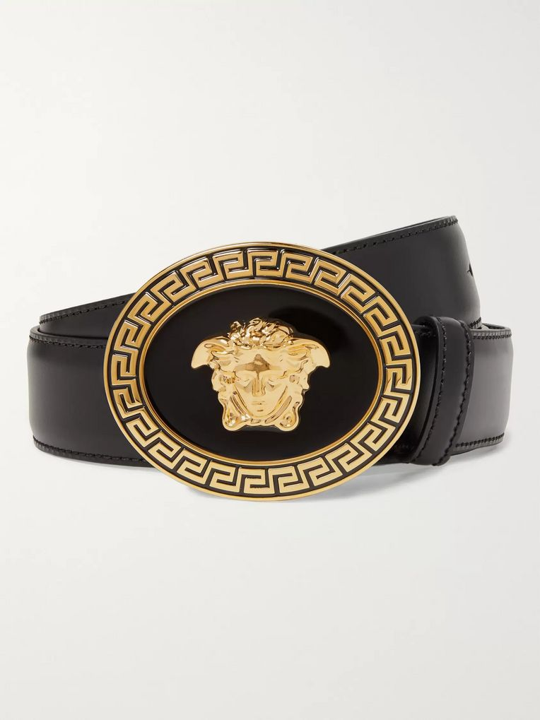 Versace 3.5cm Black Leather Belt