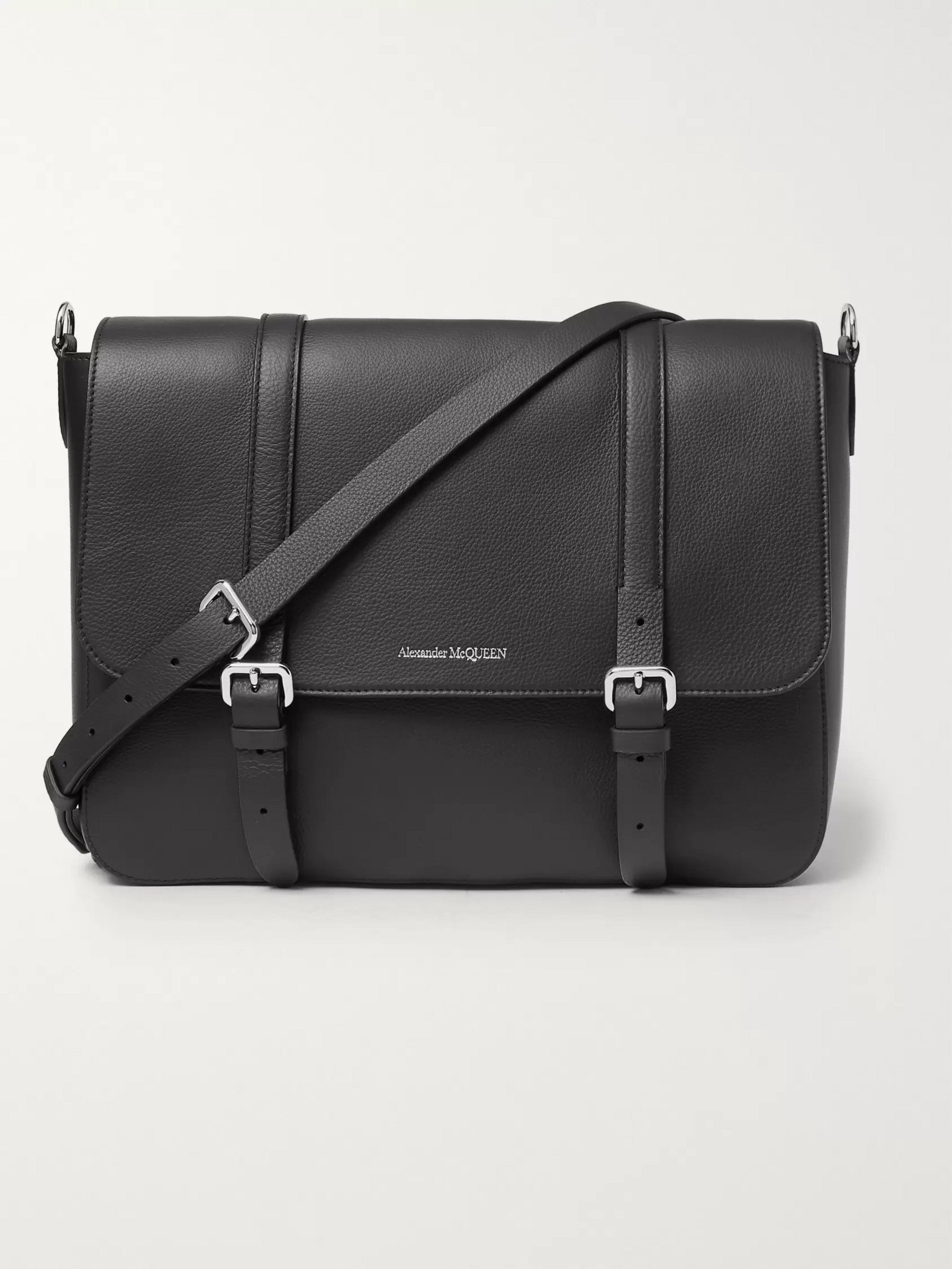 Alexander McQueen Full-Grain Leather Messenger Bag