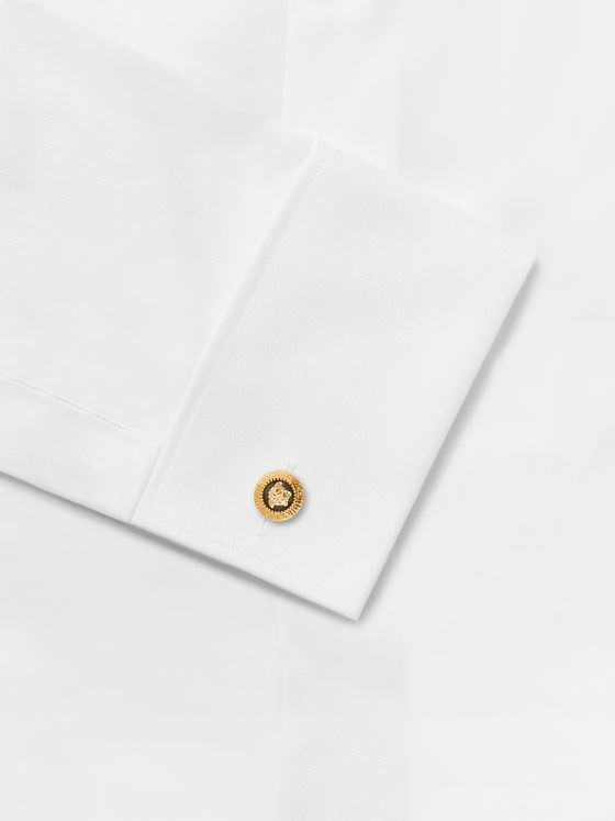Versace Medusa Gold-Tone and Enamel Cufflinks