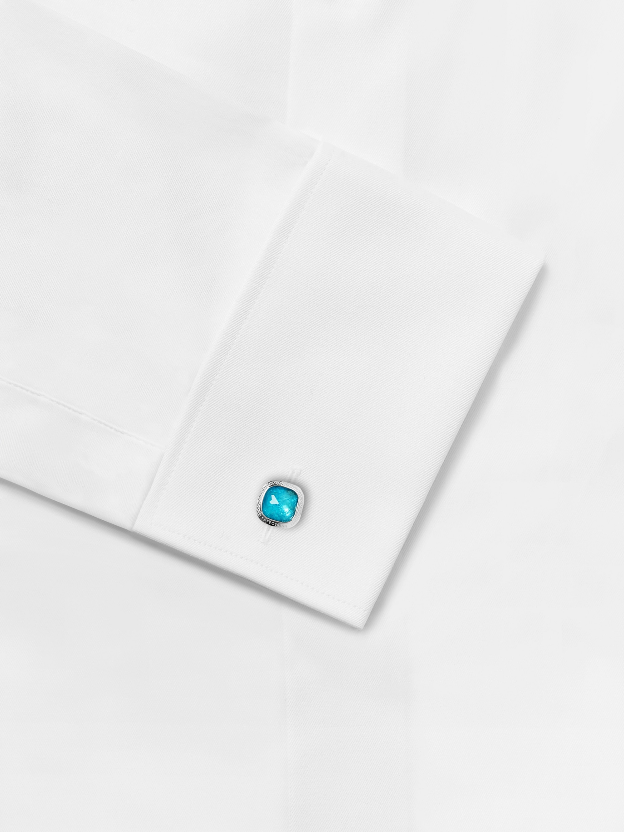 TATEOSSIAN Sterling Silver, Apatite and Enamel Cufflinks