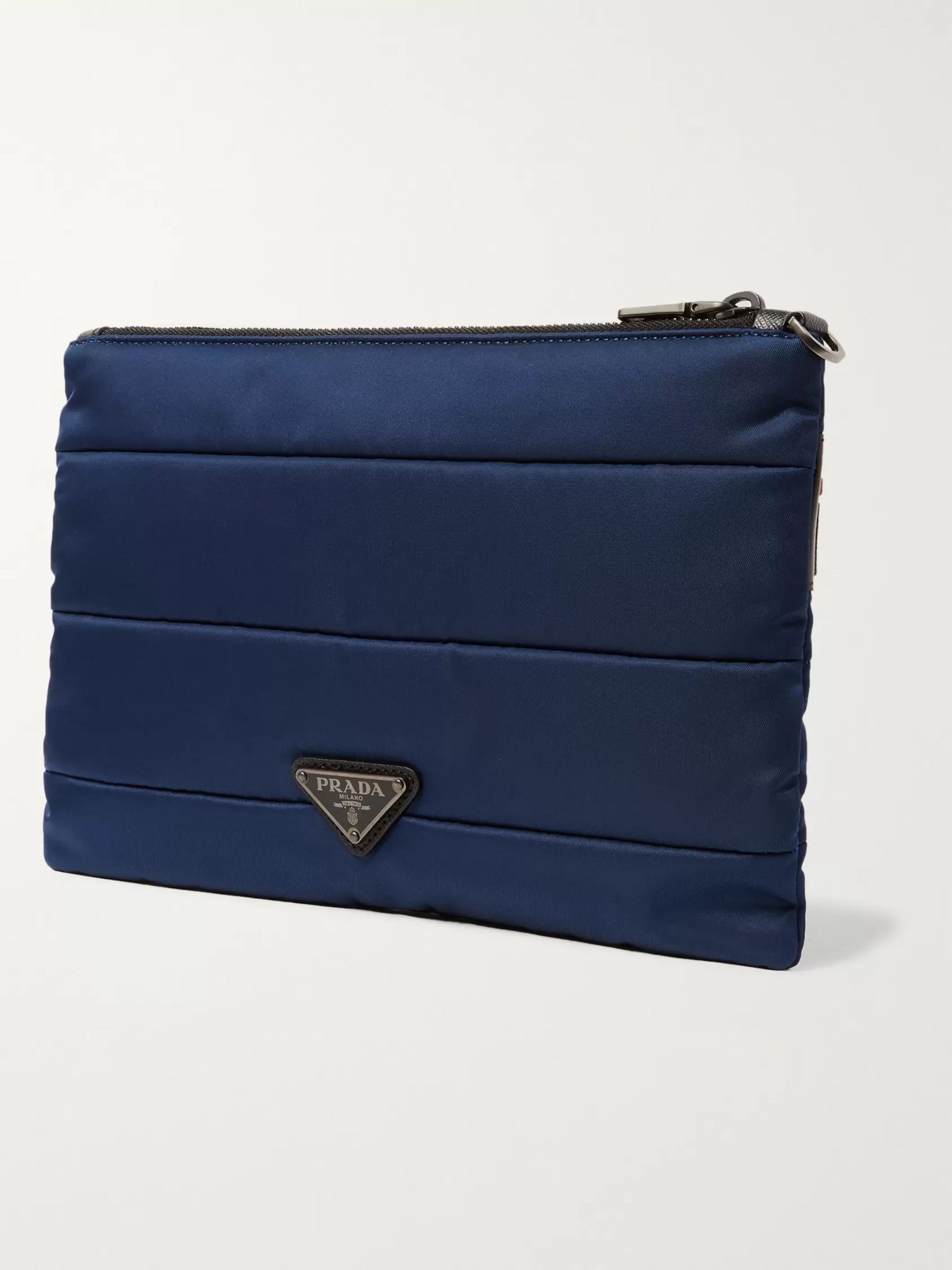 Prada Saffiano Leather-Trimmed Quilted Shell Pouch