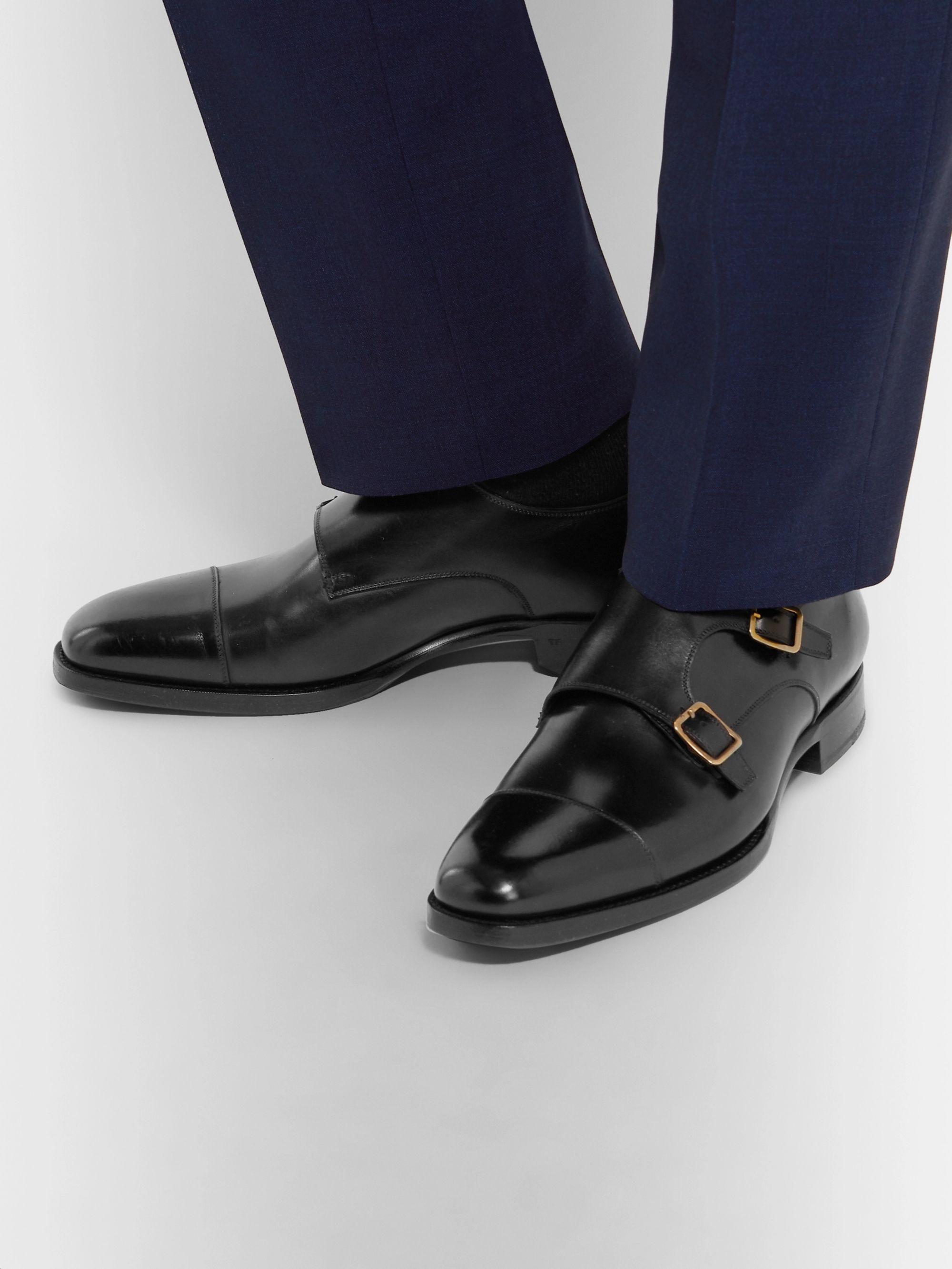 Black Wessex Cap-Toe Leather Monk-Strap