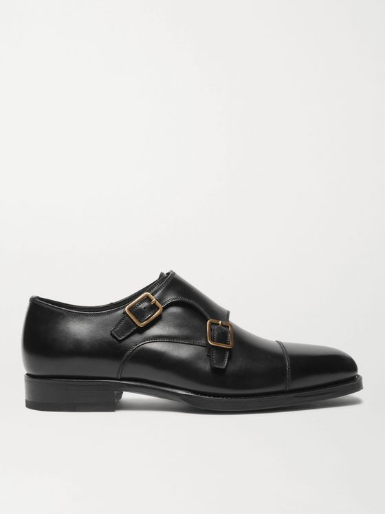TOM FORD Wessex Cap-Toe Leather Monk-Strap Shoes