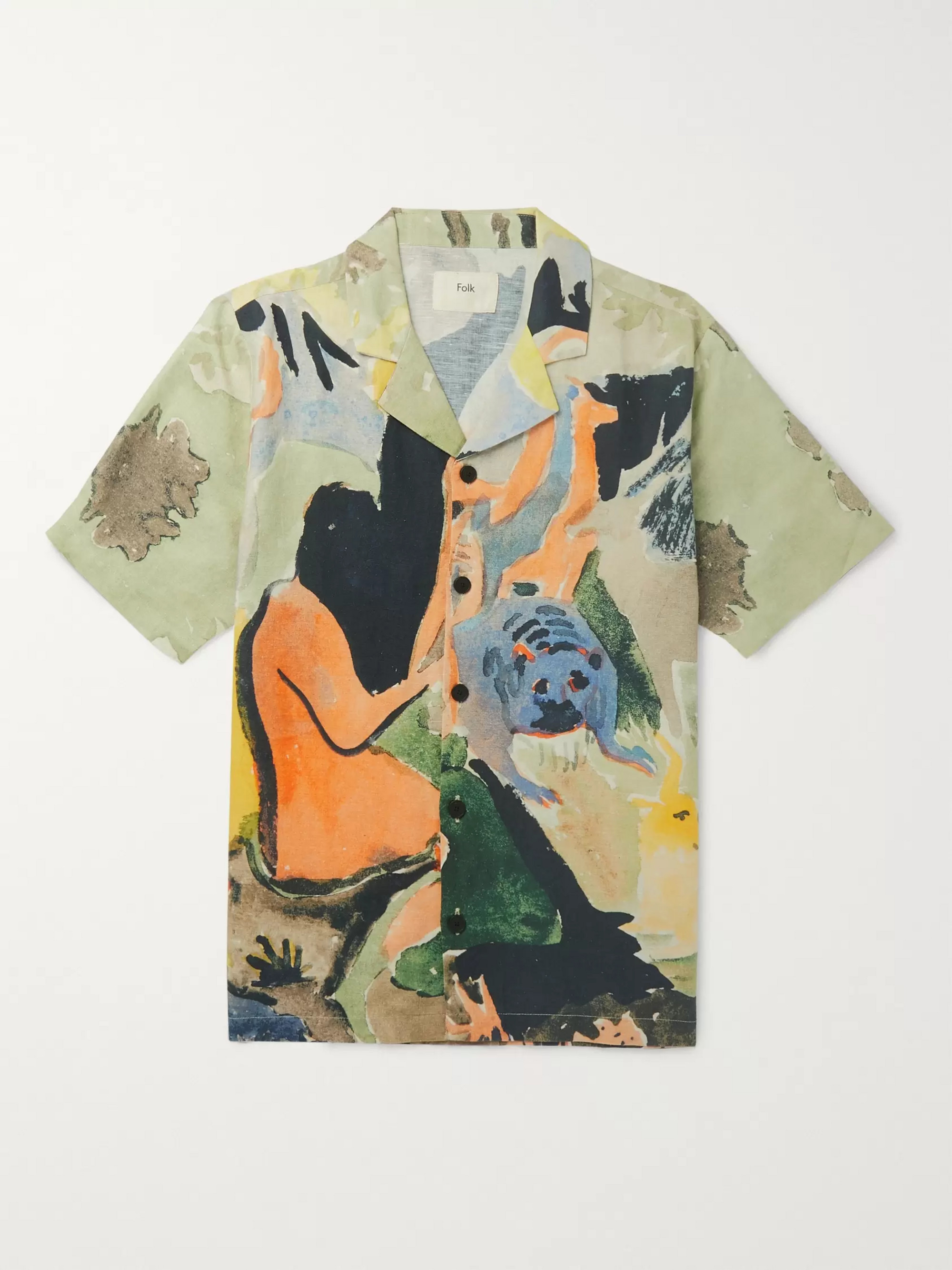 Folk + Goss Brothers Camp-Collar Printed Linen and Cotton-Blend Shirt