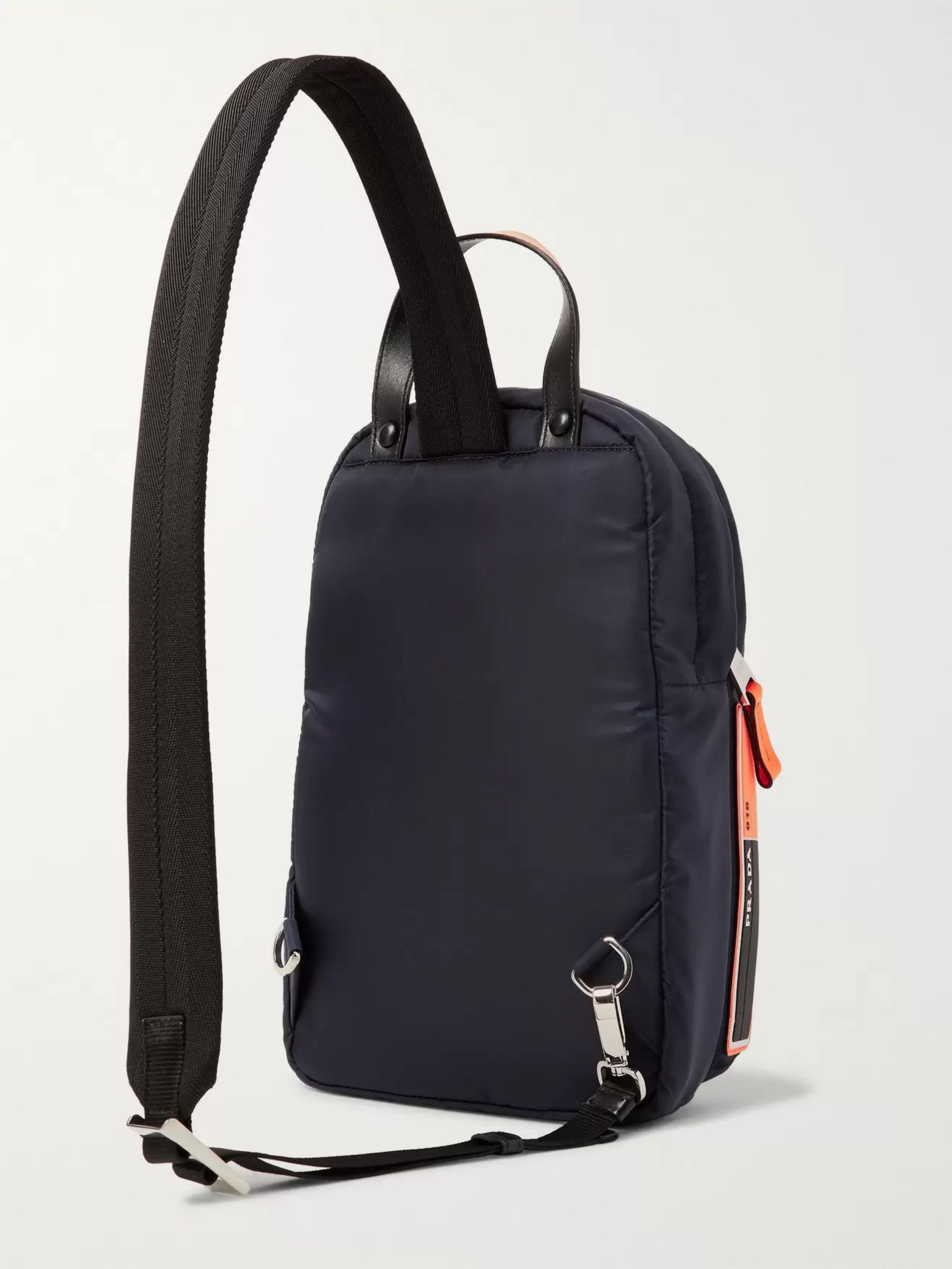 Prada Logo-Appliquéd Leather-Trimmed Nylon Backpack