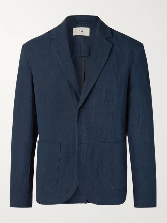 Folk Navy Unstructured Linen and Cotton-Blend Blazer