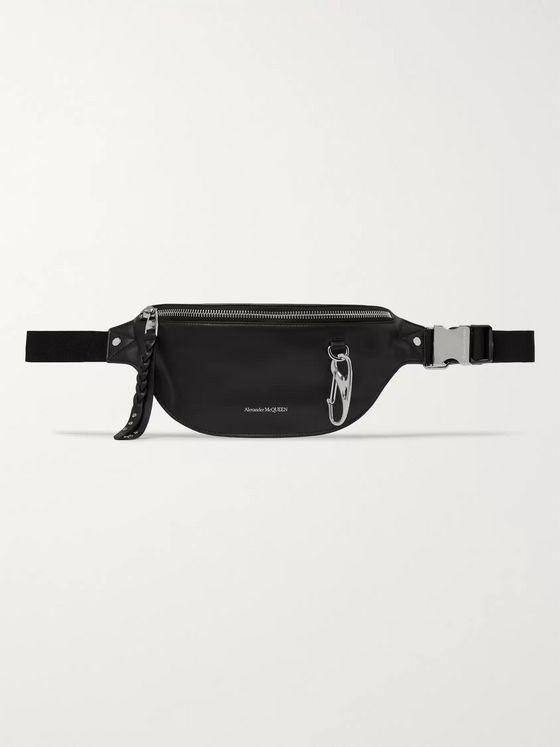 Alexander McQueen Logo-Print Leather Belt Bag