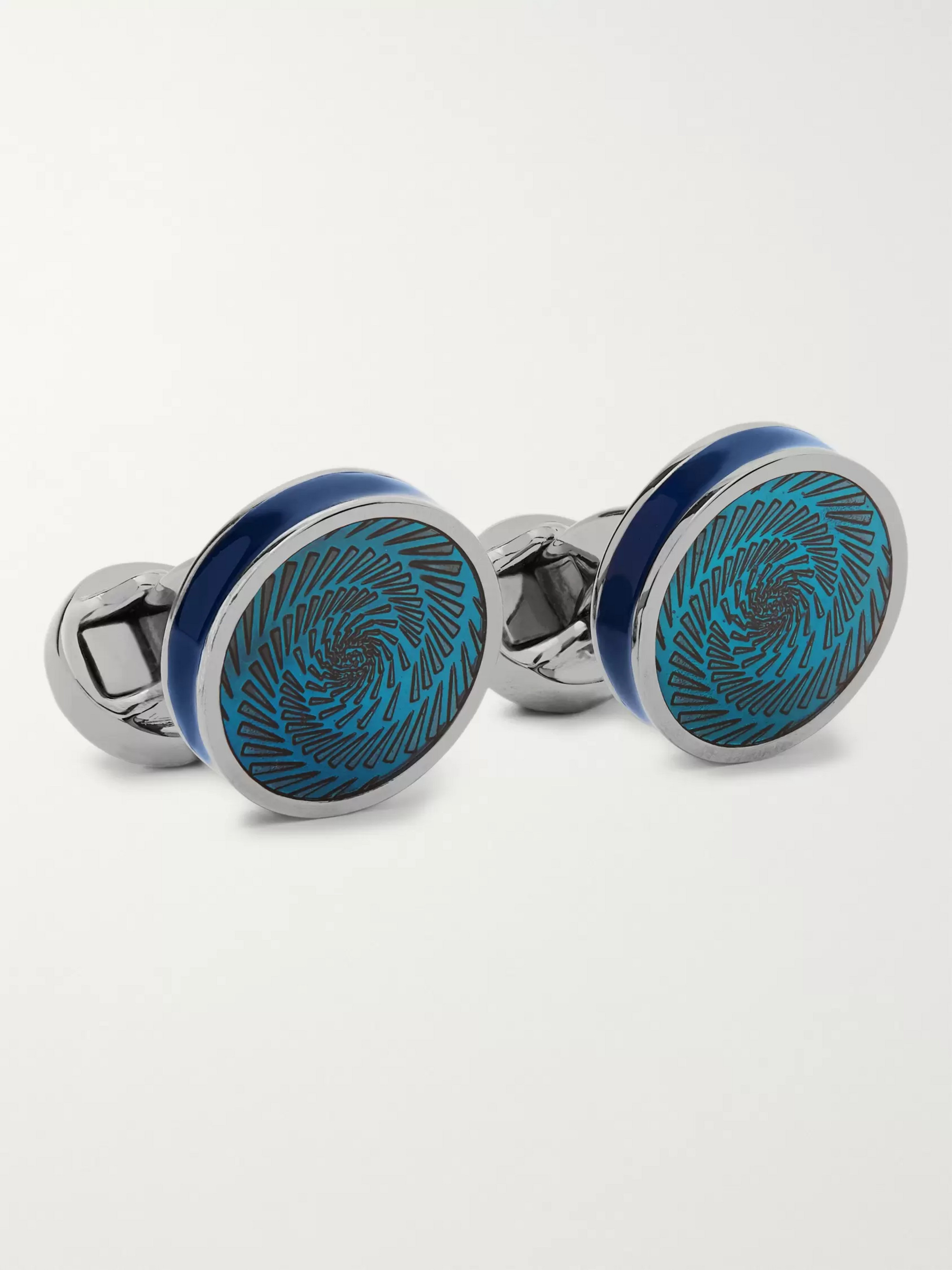 TATEOSSIAN Vertigo Ice Rhodium-Plated and Enamel Cufflinks