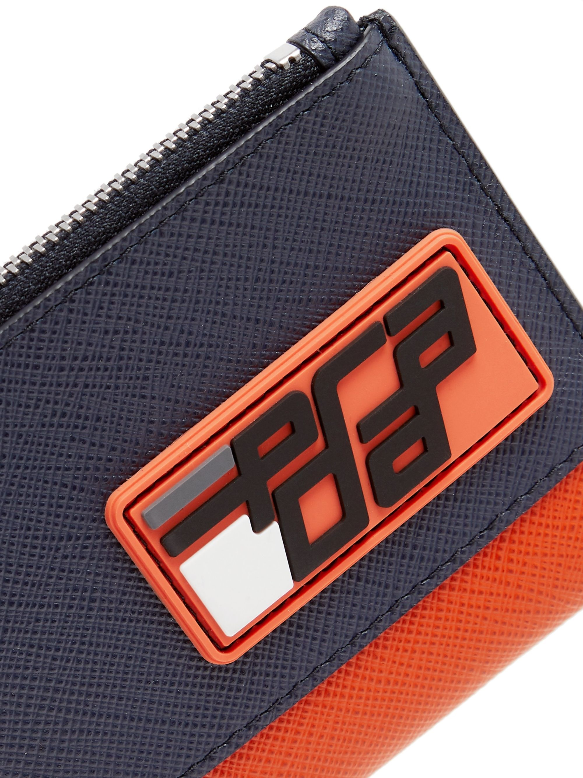 Prada Logo-Appliquéd Two-Tone Saffiano Leather Pouch